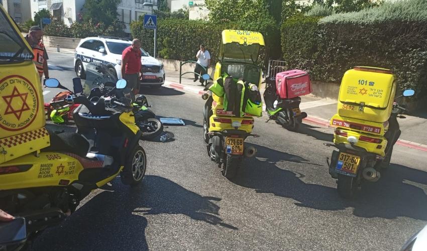רוכב אופנוע נפצע אנושות בקרית חיים (צילום: חדר מצב ארצי)