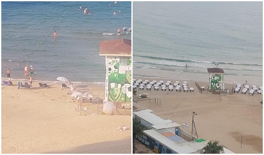 חוף הפופ-אפ: מיד לאחר הקמתו וכיום. נשארו כיסאות בודדים (צילום: ברכה בריל)