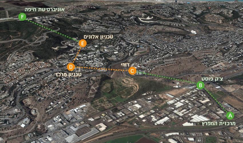 תוואי הרכבלית (תצלום אוויר: נתיבי ישראל)