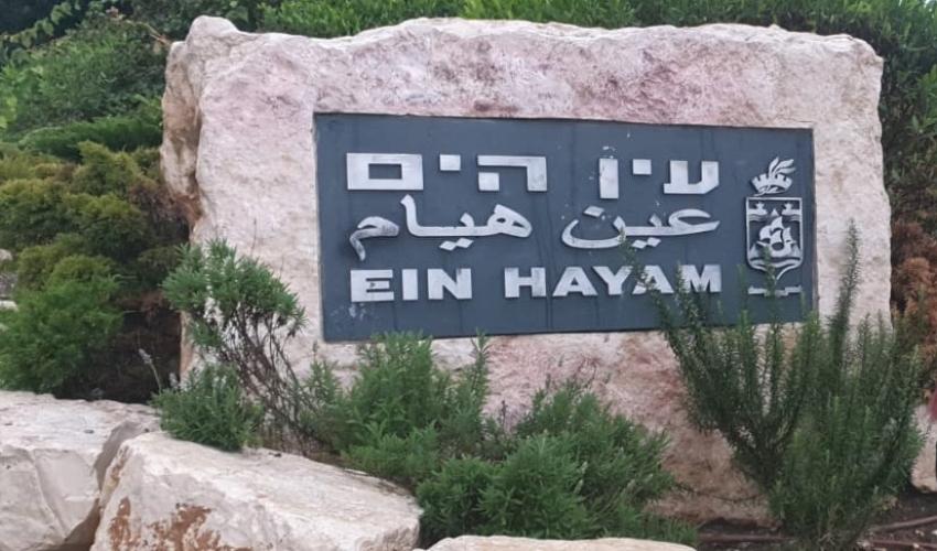"""השם """"עין הים"""" בשלוש שפות באבן בכניסה לשכונה (צילום: פדואה סרוג'י)"""