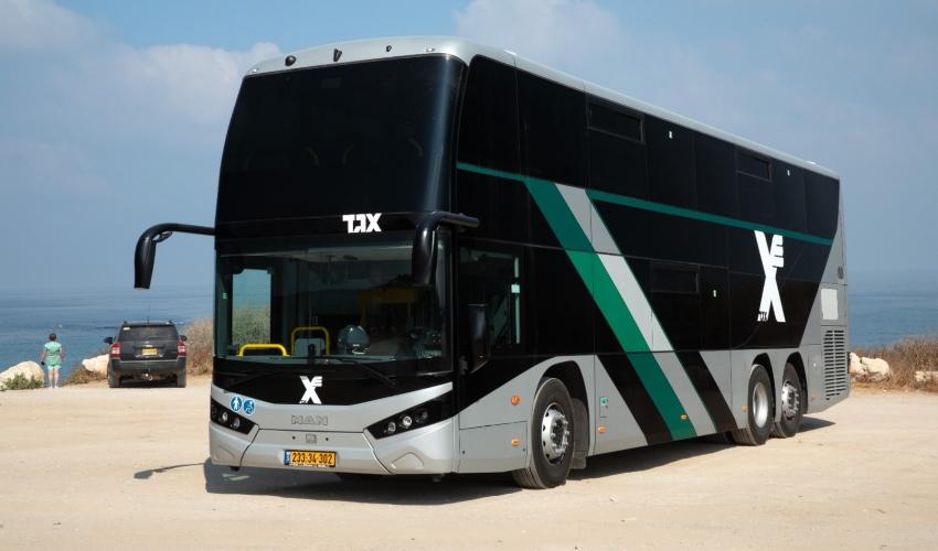 אוטובוס דו-קומתי חדיש. קו 909 (צילום: אגד)