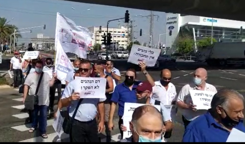 """מחאת נהגי האוטובוסים במרכזית המפרץ (צילום: """"כוח לעובדים"""")"""