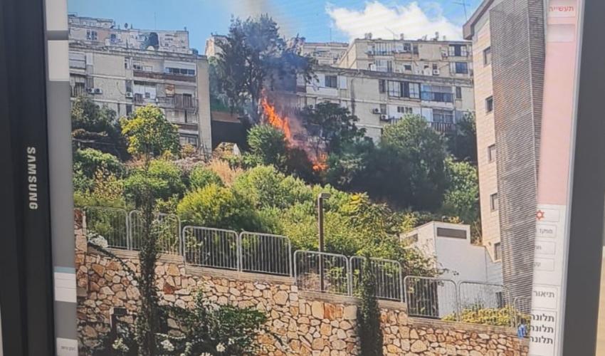 שריפה מתקרבת לבתים בנווה יוסף (צילום: דוברות כבאות והצלה)